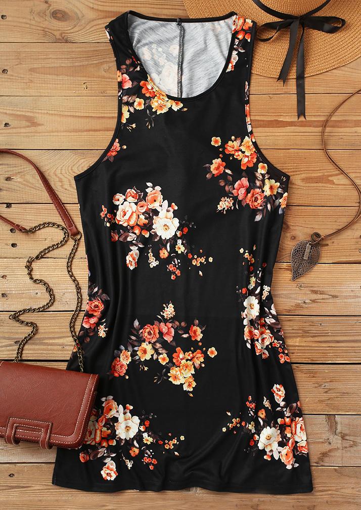 Floral Twist Sleeveless Mini Dress - Black