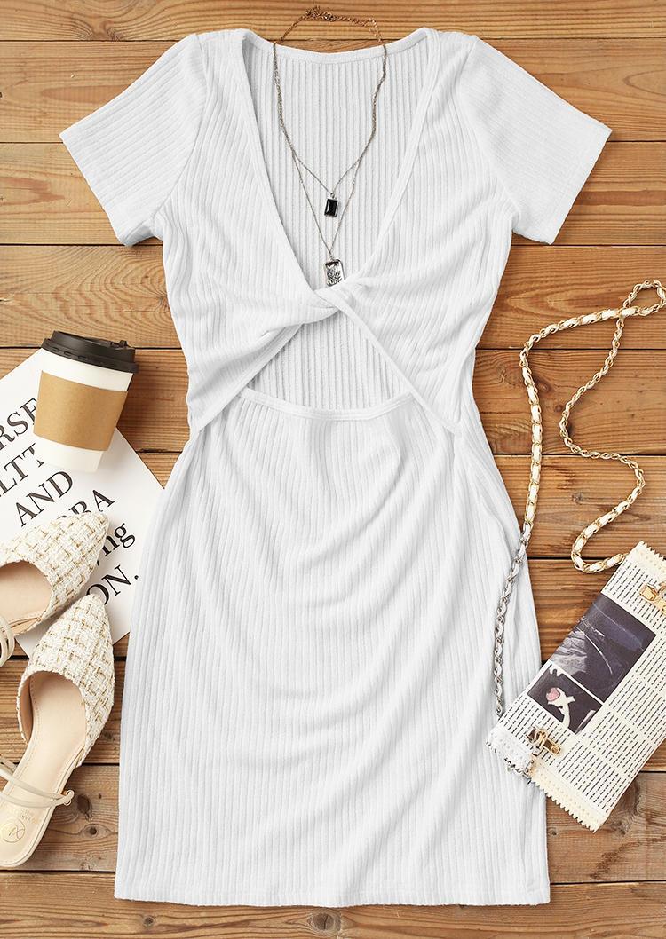 Twist Hollow Out Bodycon Dress - White