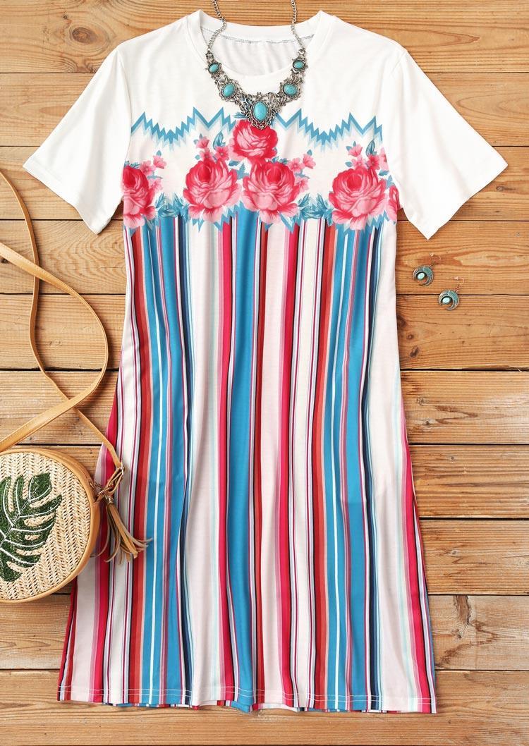 Colorful Striped Floral Pocket O-Neck Mini Dress - White