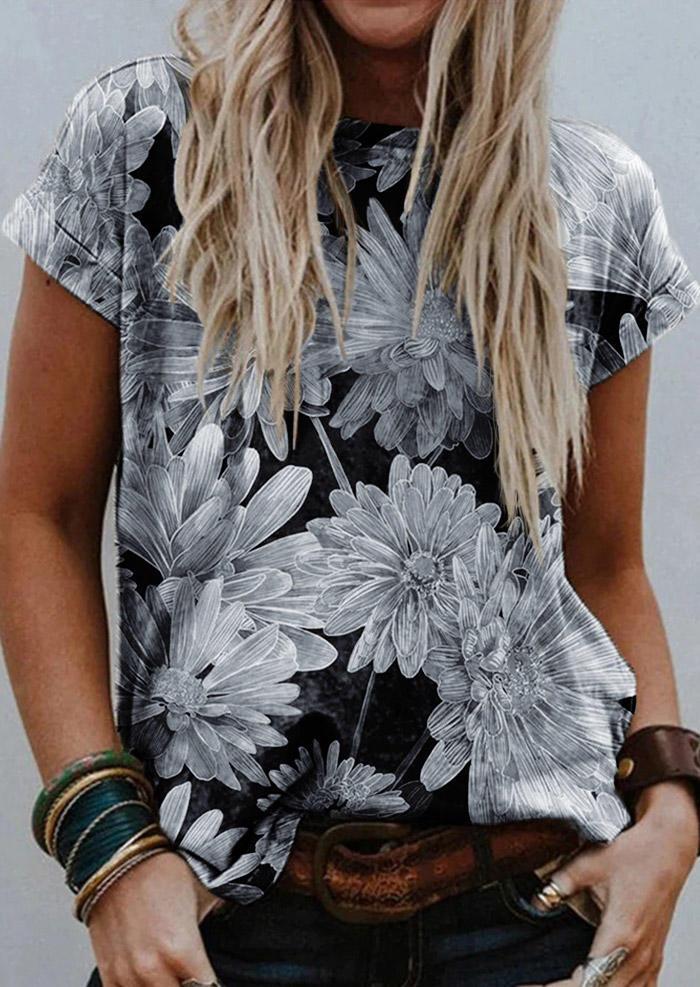 Daisy Floral O-Neck Casual T-Shirt Tee - Gray