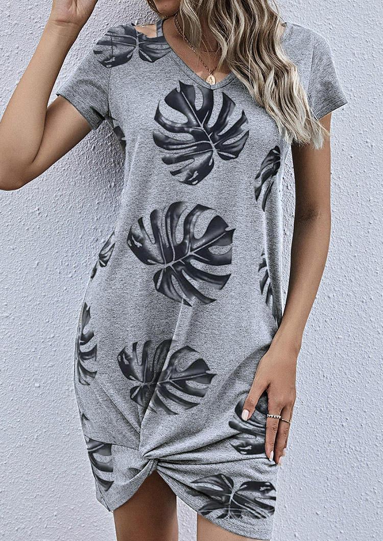 Palm Leaf Hollow Out Twist Mini Dress - Gray