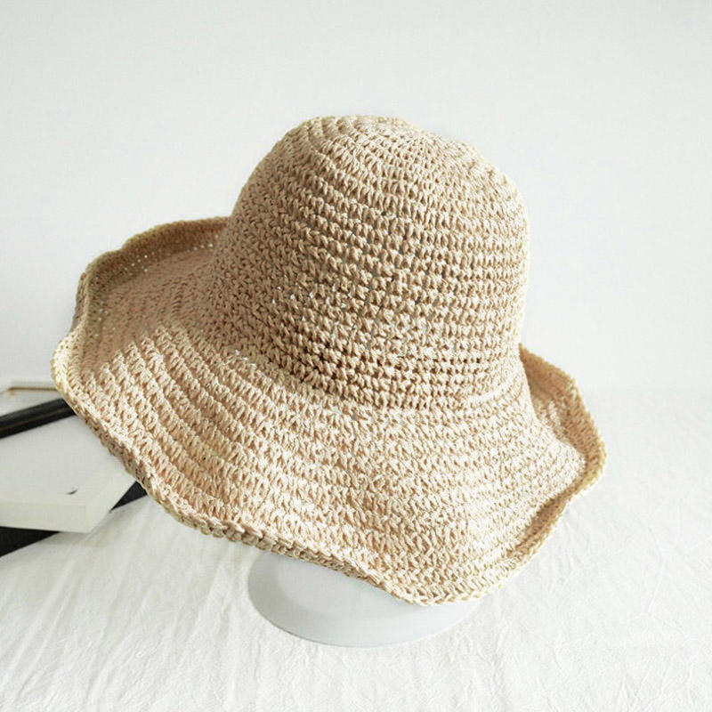 Beach Casual Rolled Up Wide Brim Straw Woven Hat