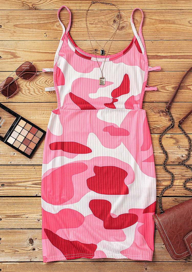 Camouflage Hollow Out Spaghetti Strap Bodycon Dress