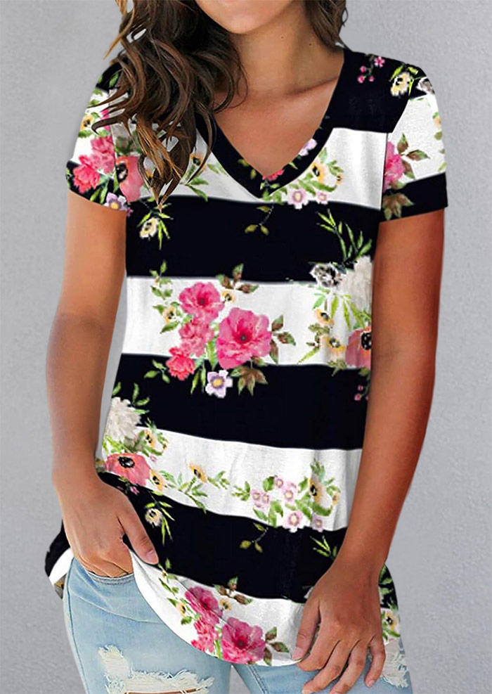 Floral Striped V-Neck Casual Blouse