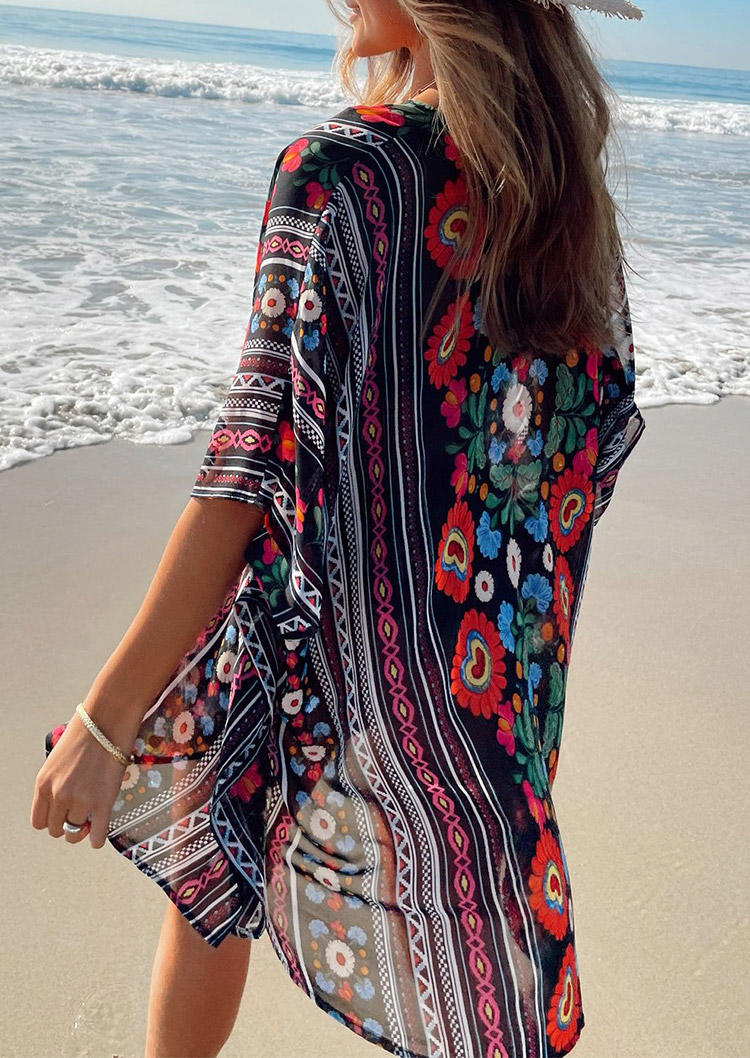 Ethnic Style Floral Open Front Cardigan