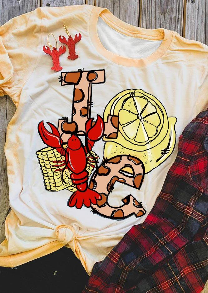 Funny Crawfish Bleached O-Neck T-Shirt Tee - Yellow
