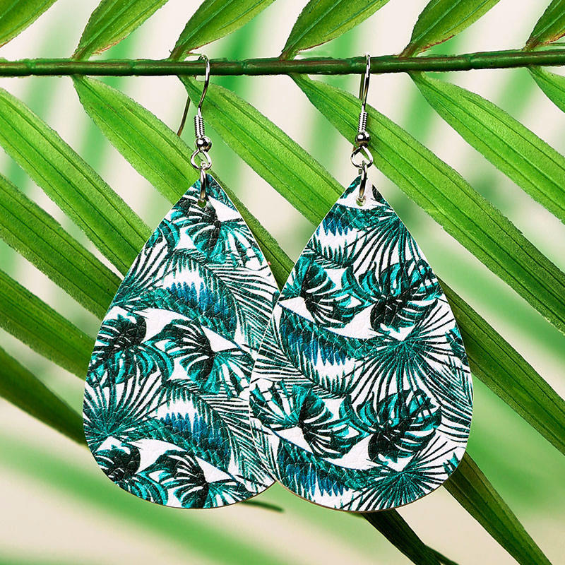 Summer Palm Leaf Water Drop Earrings - Green