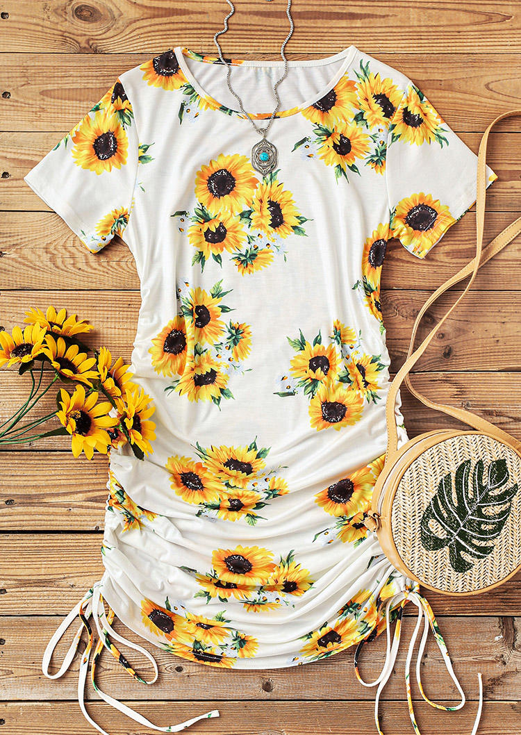 Sunflower Drawstring Ruched O-Neck Bodycon Dress - White