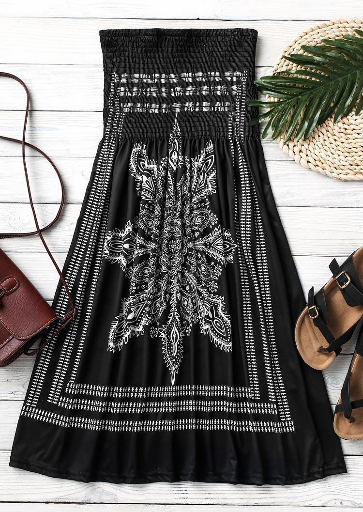 Vintage Mandala Floral Strapless Mini Dress - Black