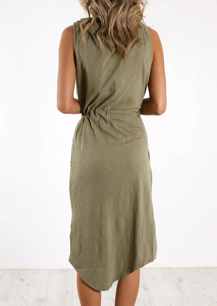 Pocket Asymmetric Casual Mini Dress - Army Green