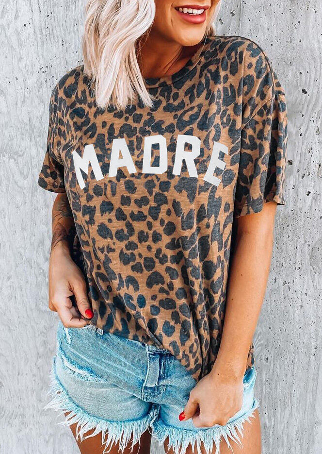 Leopard Madre O-Neck T-Shirt Tee