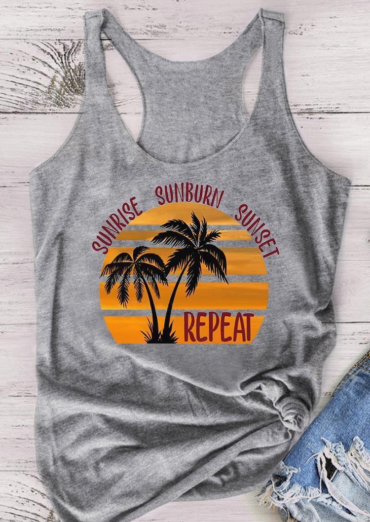 Sunrise Sunburn Sunset Repeat Coconut Tree Tank - Gray