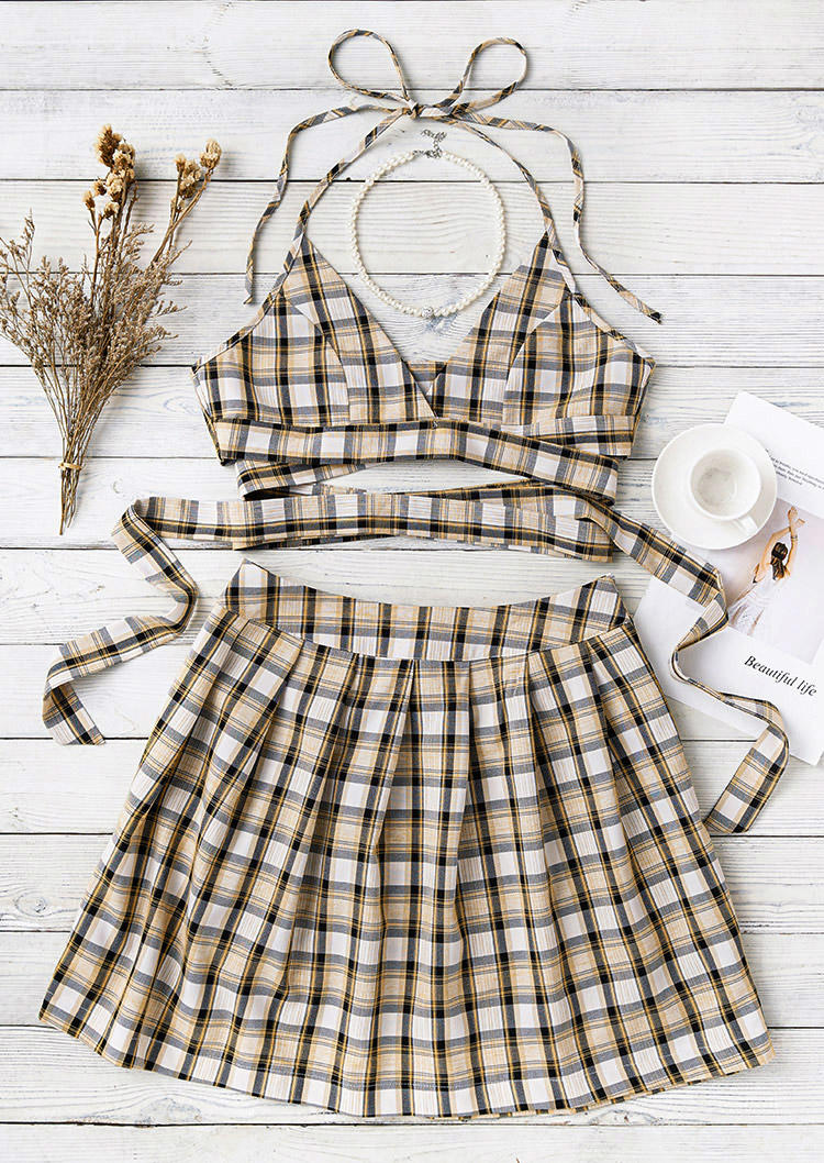 Plaid Halter Tie Camisole And Skirt Outfit