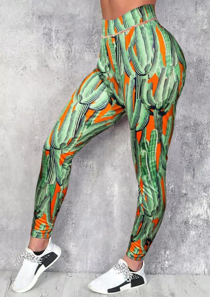 Plus Size Cactus Yoga Fitness Sports Activewear Leggings