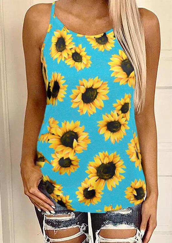 Sunflower Criss-Cross Open Back Camisole - Blue