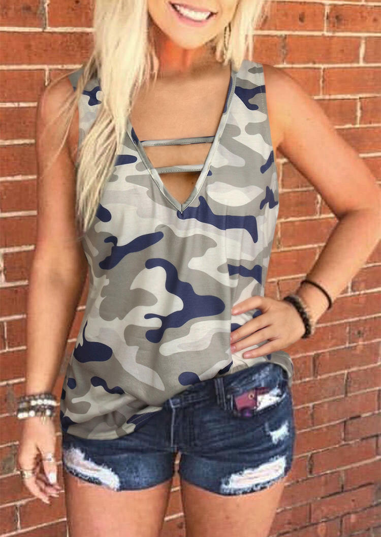Camouflage Hollow Out V-Neck Casual Tank