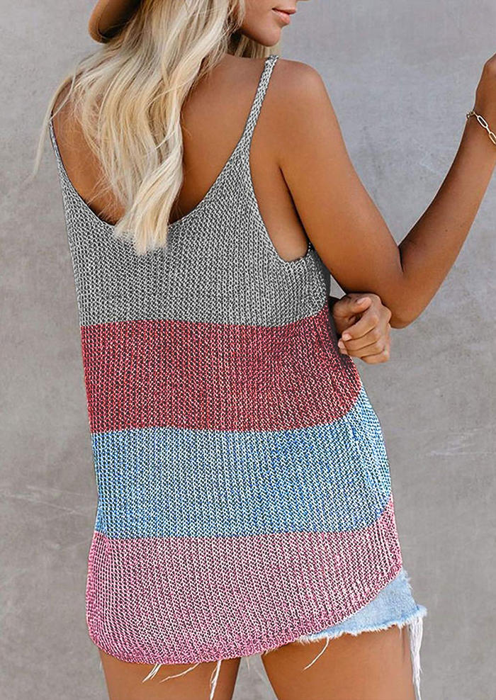 Color Block Knitted Loose Camisole