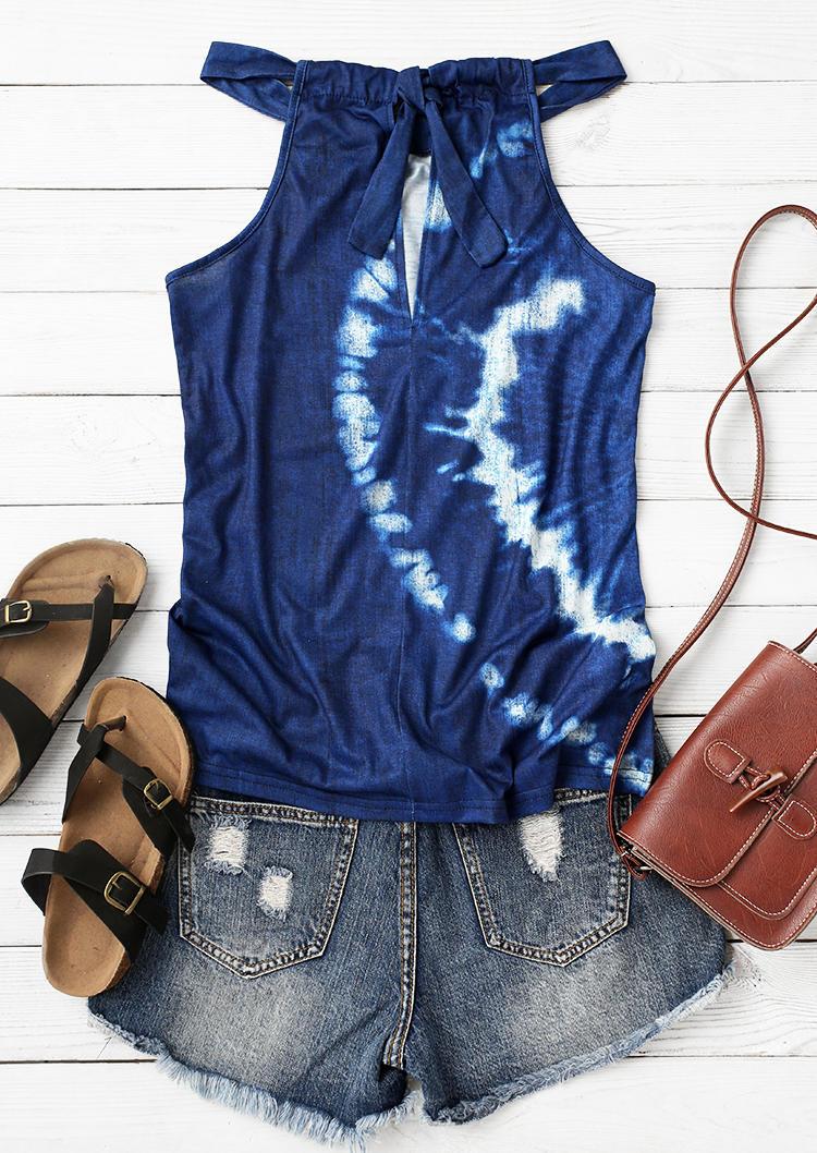 Tie Dye Tie Halter Camisole - Navy Blue