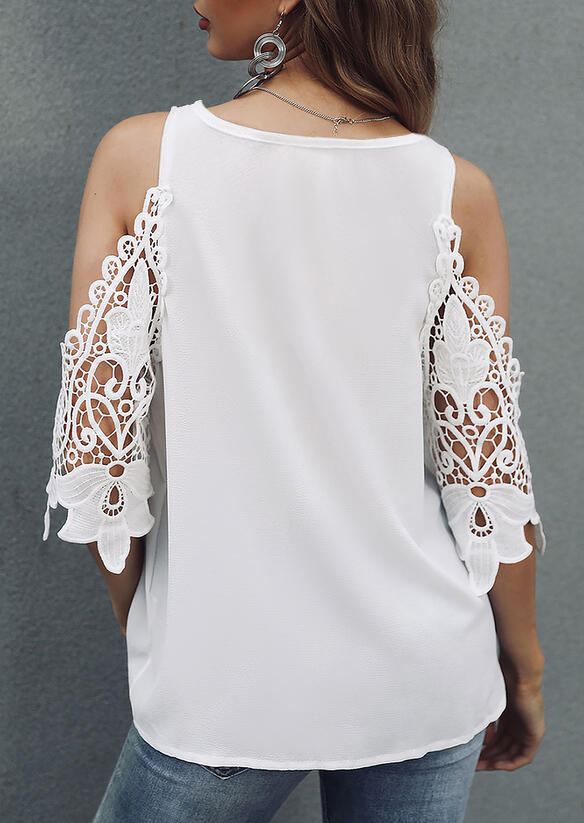 Hollow Out Lace Splicing Cold Shoulder Blouse - White