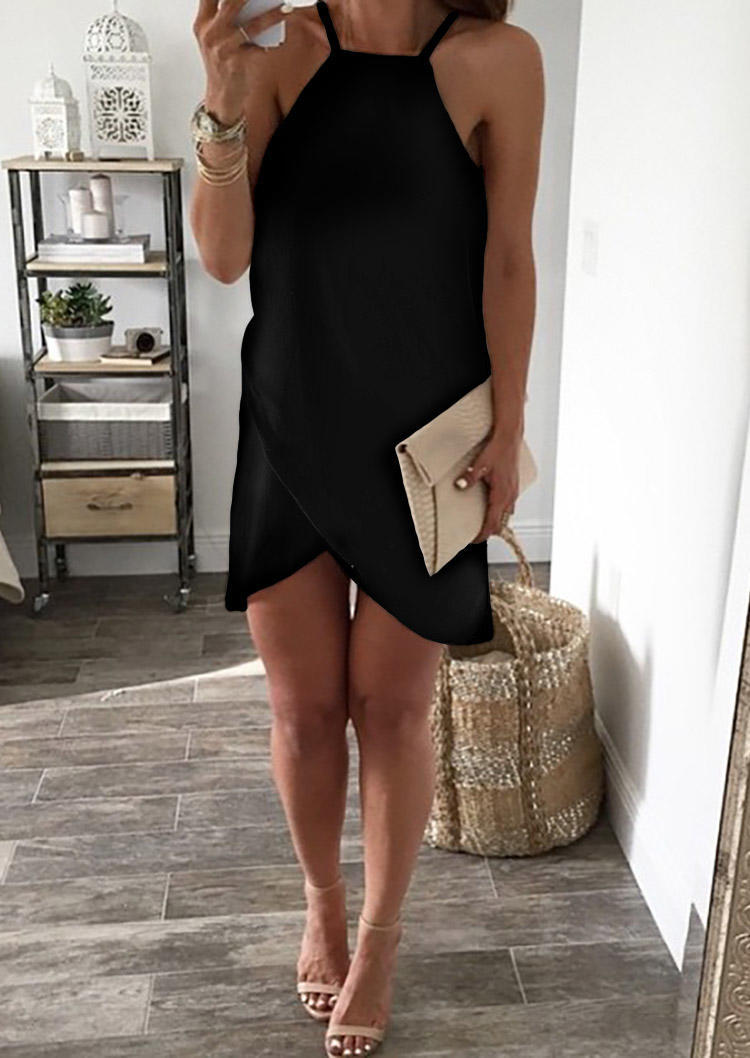 Asymmetric Wrap Sleeveless Halter Mini Dress - Black