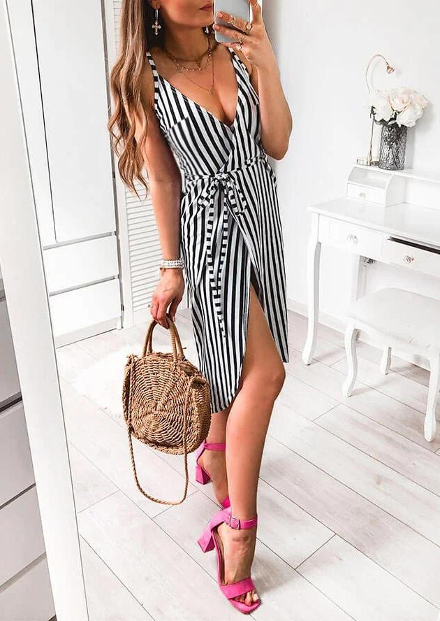 Striped Wrap Slit Spaghetti Strap Midi Dress