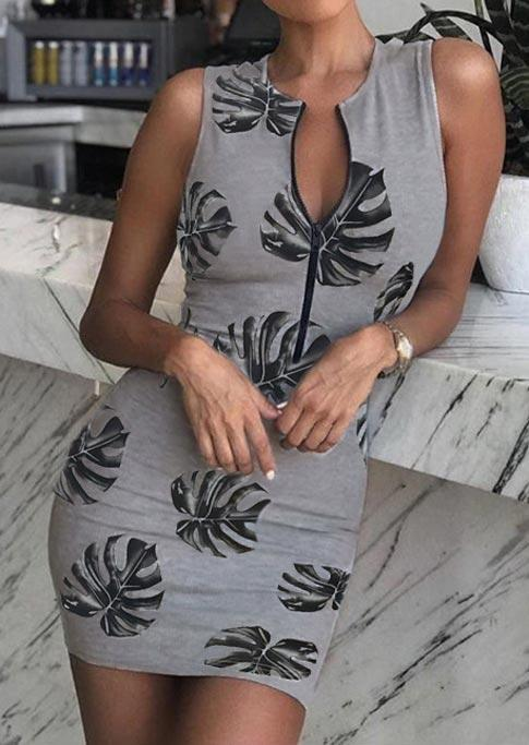 Palm Leaf Zipper Collar Sleeveless Bodycon Dress - Gray