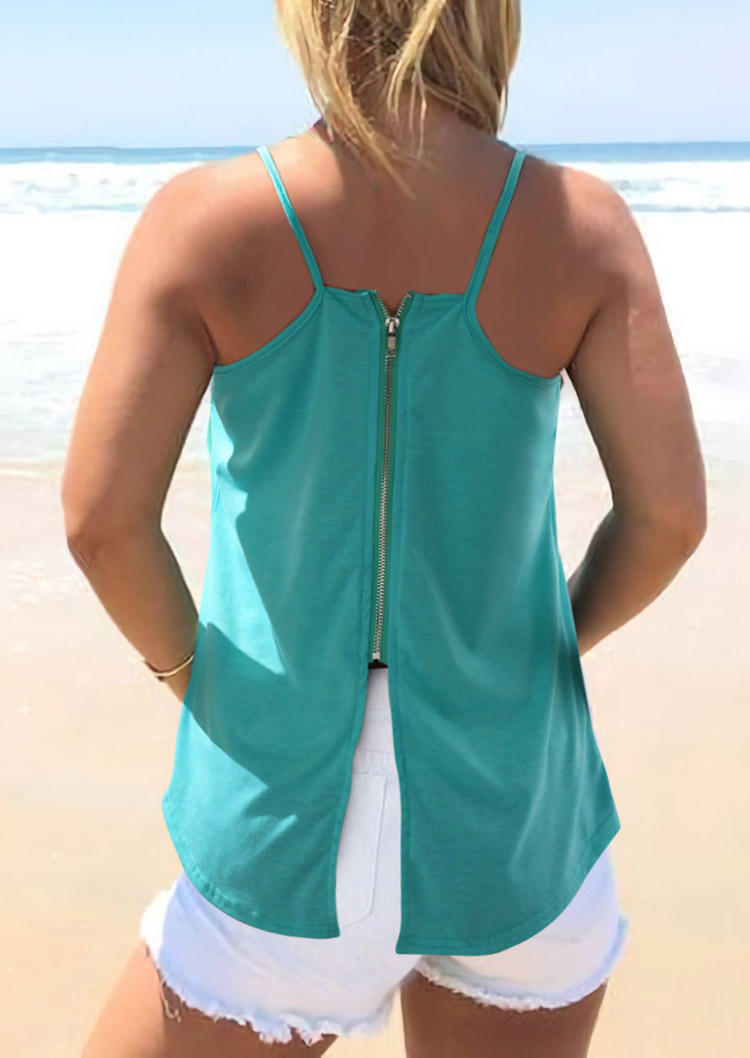 Hollow Out Zipper Casual Camisole - Cyan