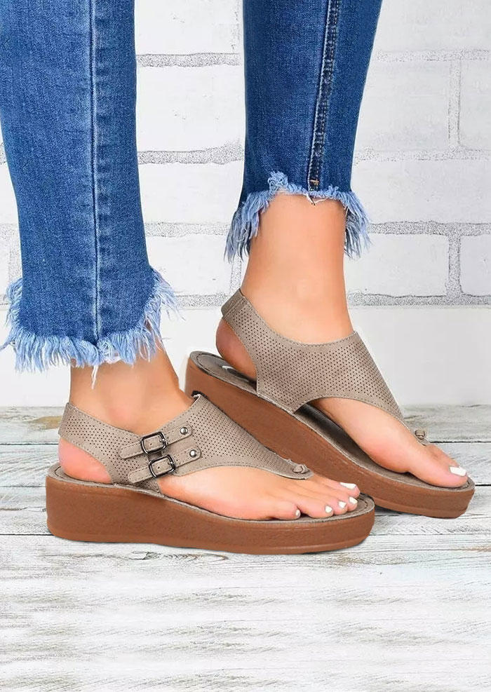 Hollow Out Ankle Strap Wedged Heel Sandals - Gray