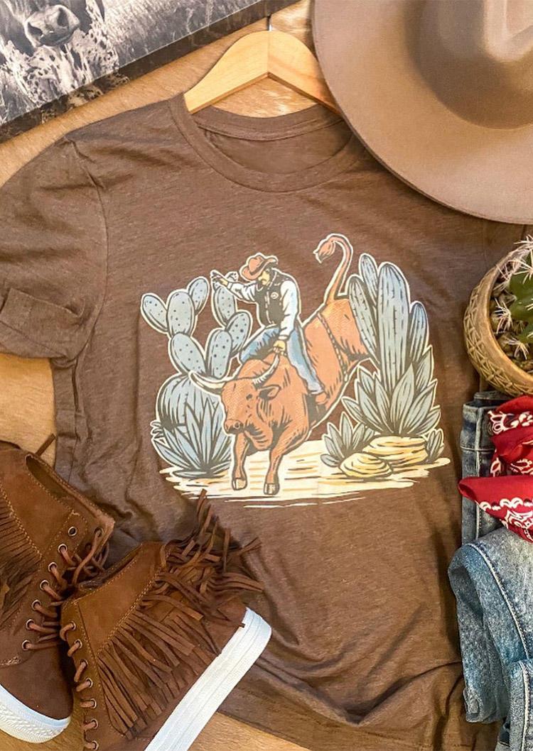 Western Cowboy Cactus T-Shirt Tee - Light Coffee
