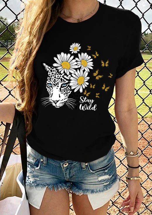Tiger Daisy Butterfly Stay Wild T-Shirt Tee - Black