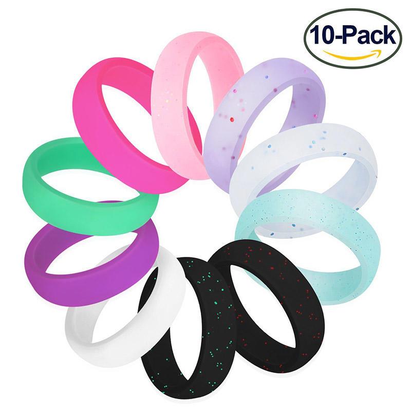 10Pcs Glitter Sports Rubber Band Silicone Ring Set