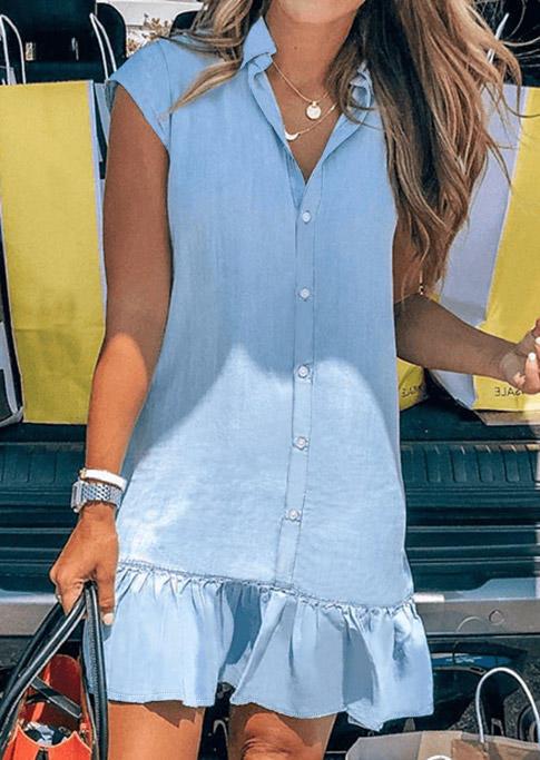 Ruffled Button Turn-Down Collar Mini Dress - Light Blue