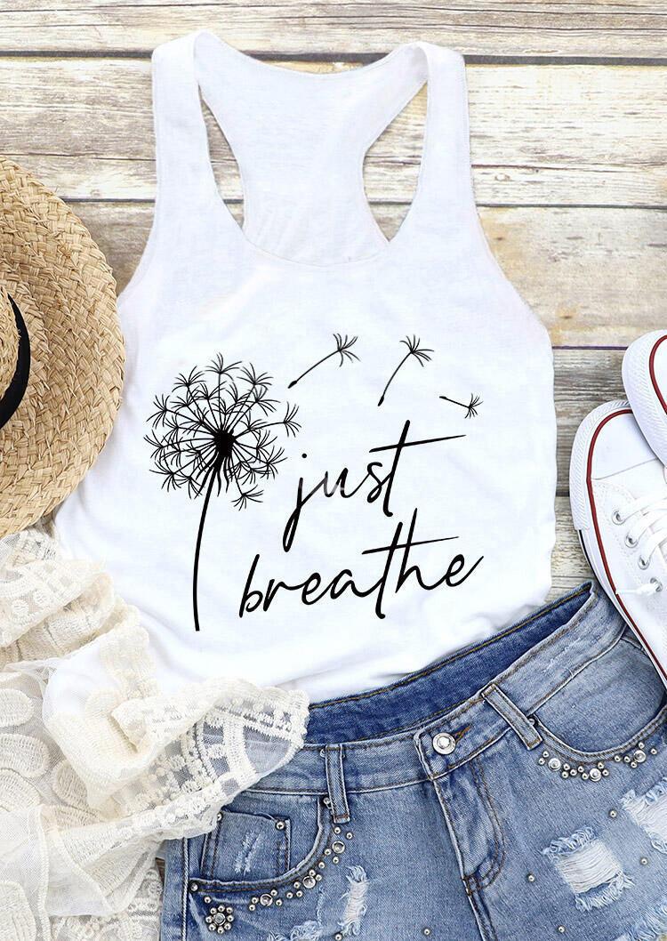 Just Breathe Dandelion Tank - Black