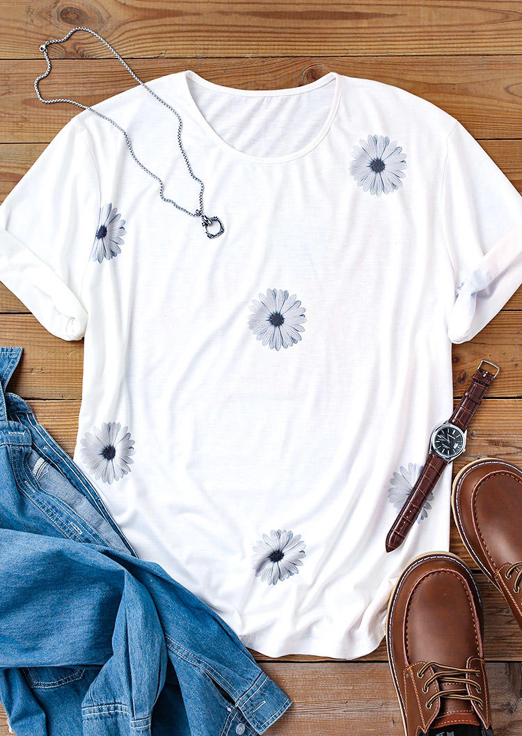 Men Daisy Short Sleeve O-Neck T-Shirt Tee - White