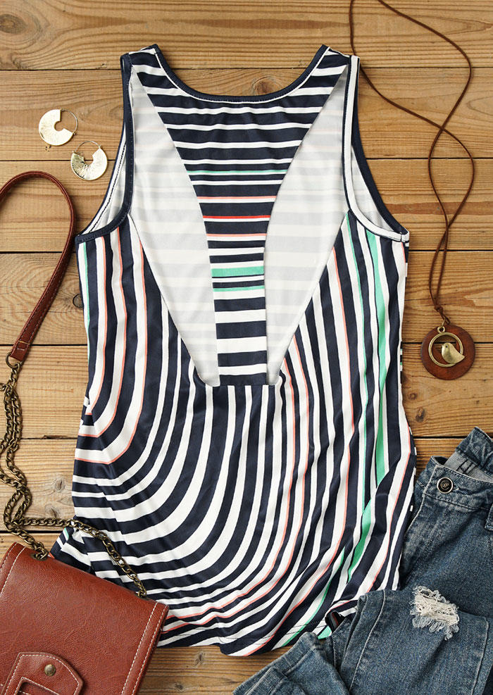Colorful Striped Hollow Out Tank