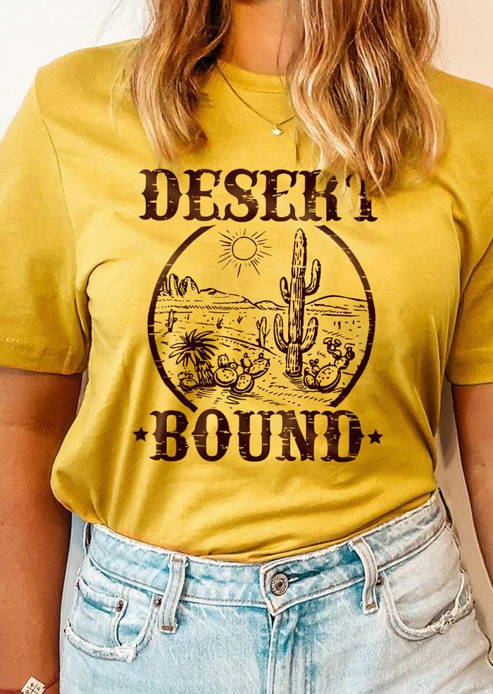 Desert Bound Cactus Graphic T-Shirt Tee - Yellow