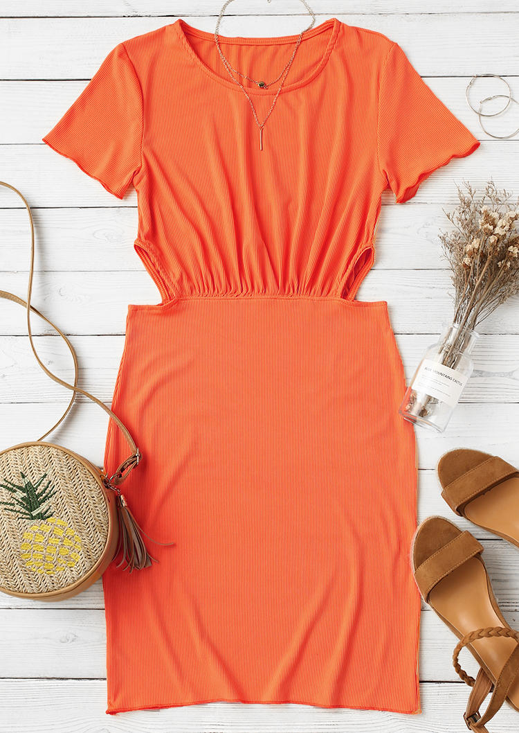 Hollow Out Ruffled O-Neck Bodycon Dress - Orange