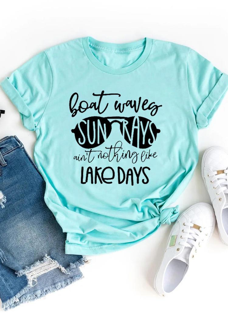 Boat Waves Sun Rays Ain't Nothing Like Lake Days T-Shirt Tee - Cyan