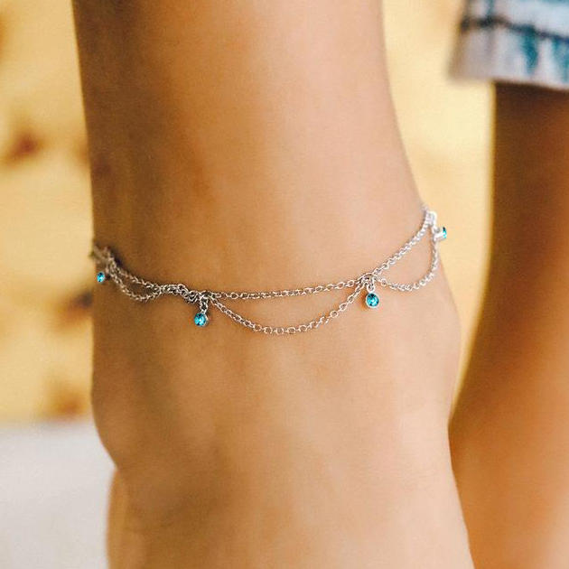 Vintage Bohemian Turquoise Dual-Layered Anklet