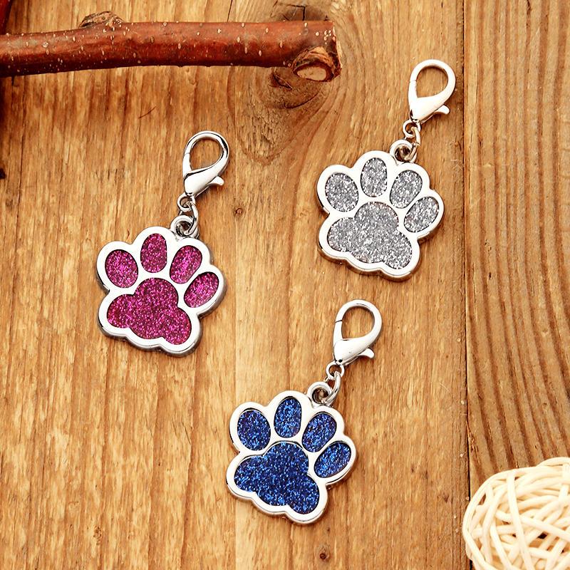 Cute Glitter Paw Pet Dog Tag