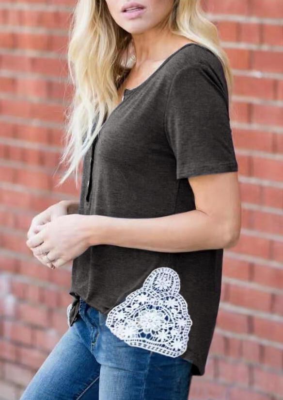 Lace Button Crochet Casual Blouse - Dark Grey