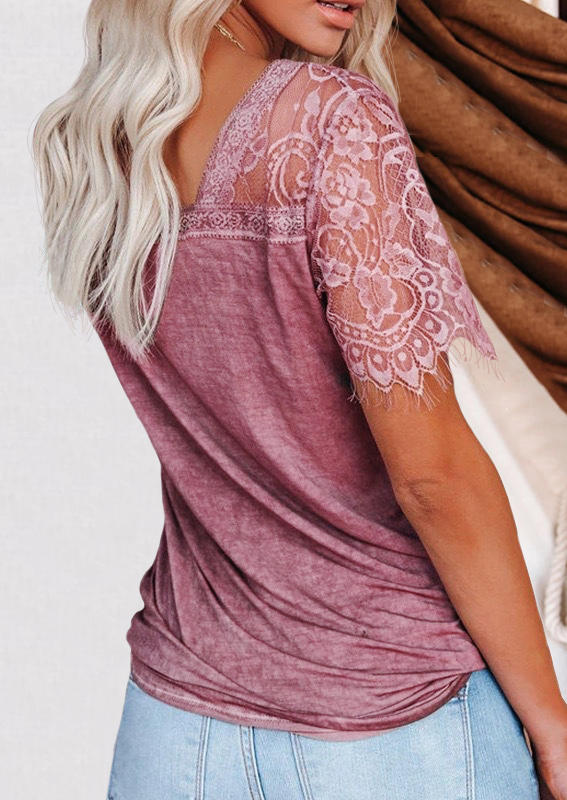 Lace Splicing V-Neck Blouse - Cameo Brown