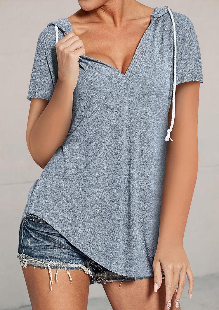 Asymmetric Drawstring V-Neck Hooded Blouse - Gray