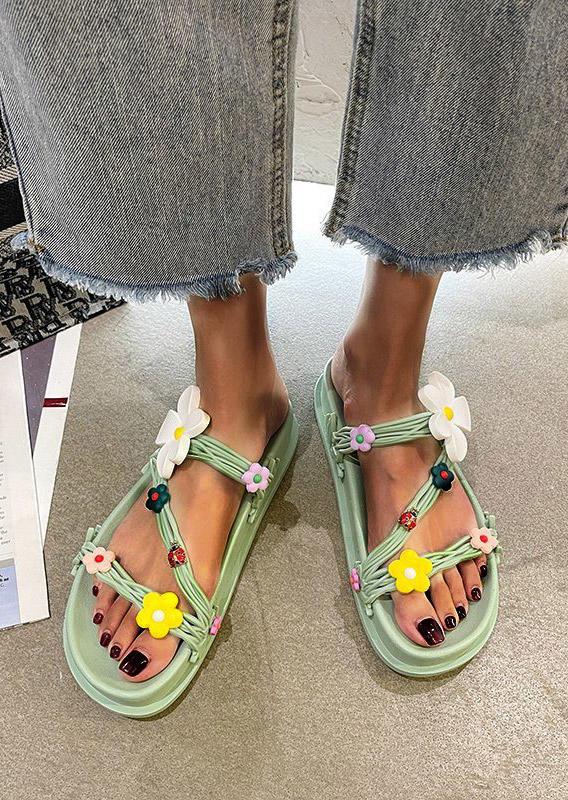 Floral Slip On Flat Slippers - Light Green