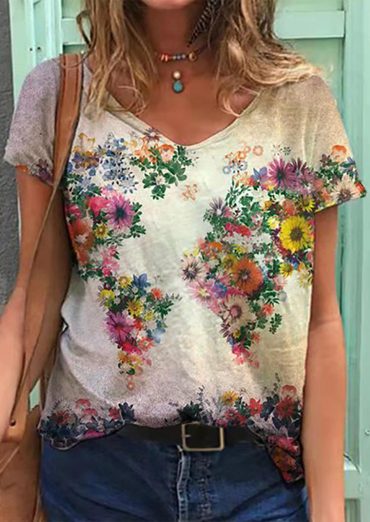 Floral Oil Painting V-Neck Loose Blouse