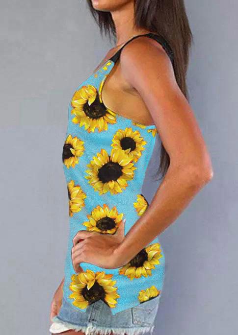 Sunflower Lace Splicing Open Back Tank - Cyan