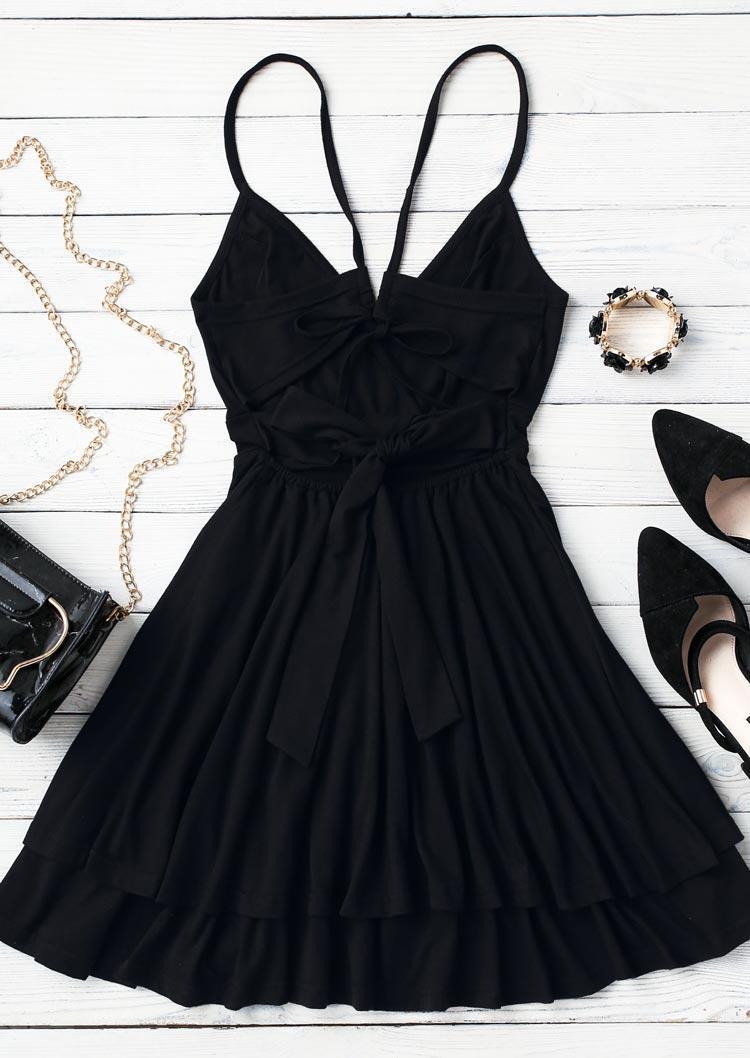 Ruffled Open Back Layered Wrap Tie Mini Dress - Black