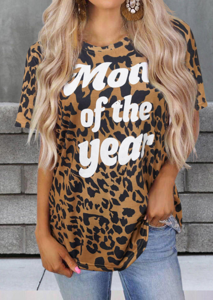 Leopard Mom Of The Year T-Shirt Tee