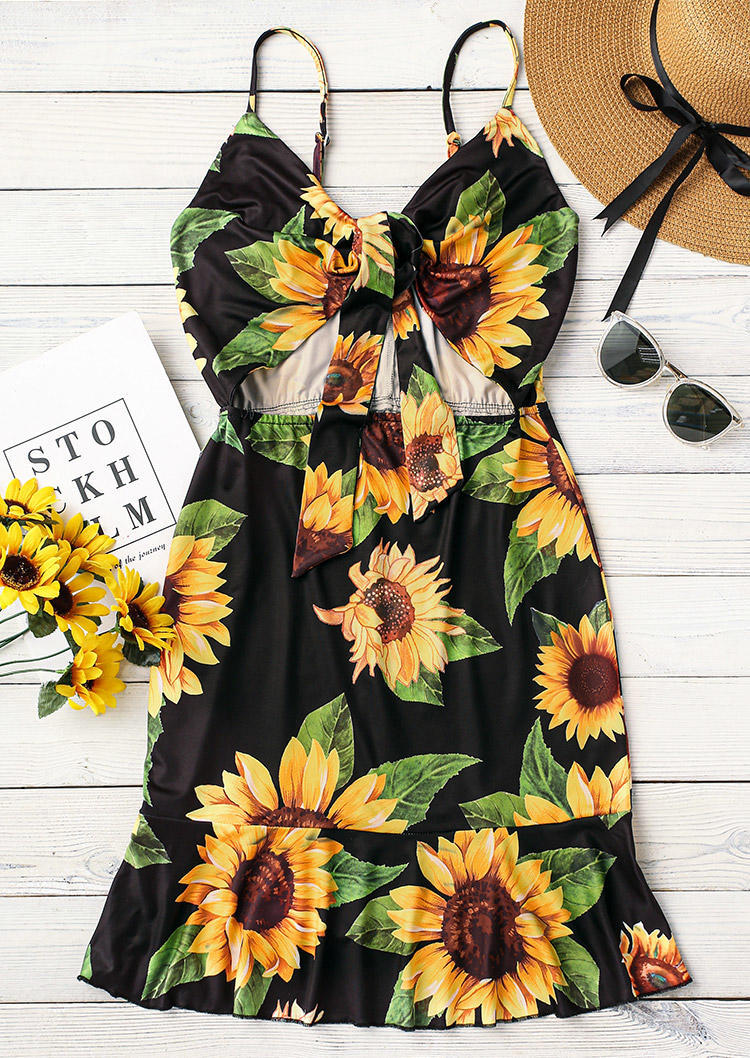 Sunflower Hollow Out Tie Ruffled Spaghetti Strap Mini Dress