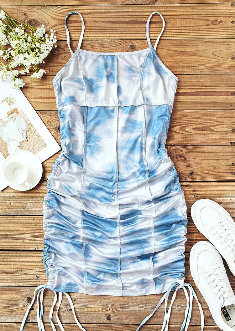 Tie Dye Drawstring Ruched Adjustable Strap Bodycon Dress - Blue